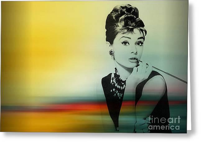 Audrey Hepburn Art Greeting Card by Marvin Blaine