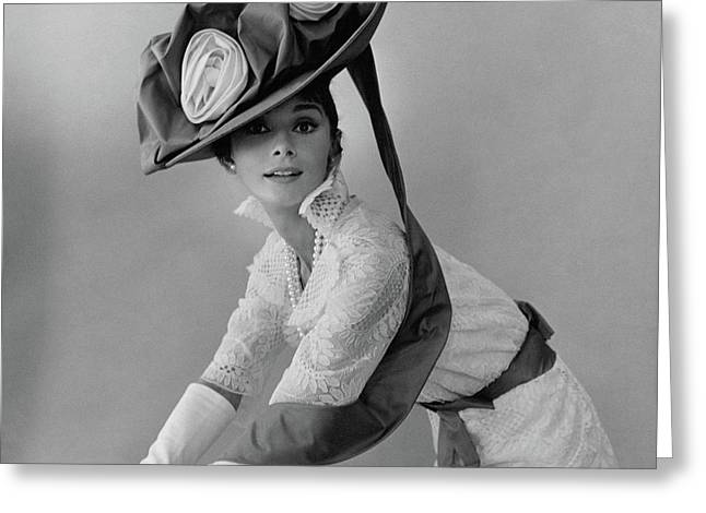 Audrey Hepburn In Costume For My Fair Lady Greeting Card by Cecil Beaton