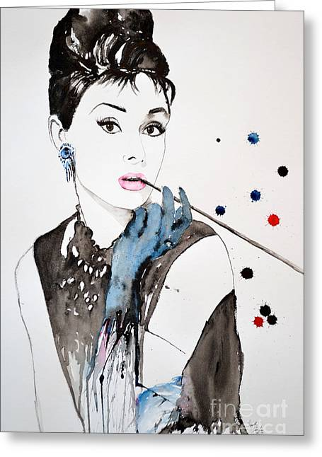 Audrey Hepburn Greeting Card by Ismeta Gruenwald