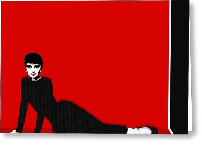Audrey Hepburn Strikes A Pose Greeting Card by Tony Rubino