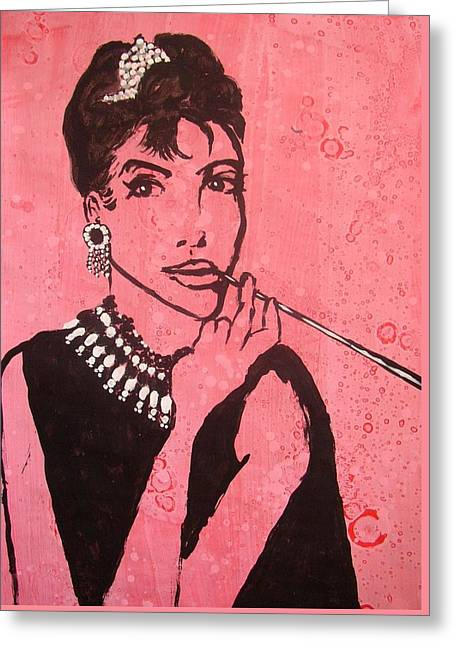 Audrey Hepburn Greeting Card by William Bryant