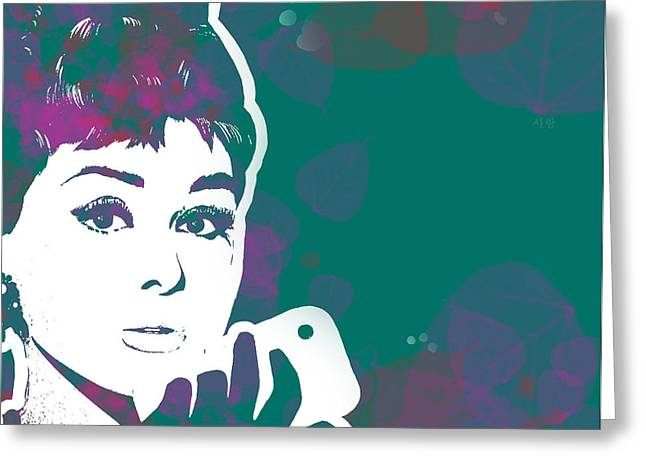 Audrey Hepburn With Iphone03 Greeting Card by Sam Lea