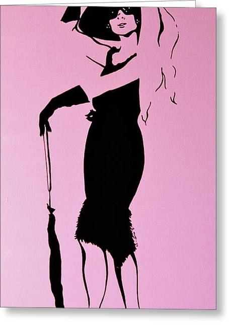 Audrey In Pink Greeting Card by Rebecca Mott