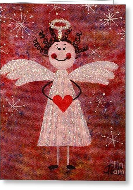 Greeting Card featuring the painting Audrey The Angel by Jane Chesnut