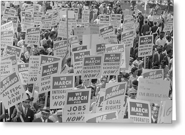 August 28, 1963 - Marchers With Signs Greeting Card