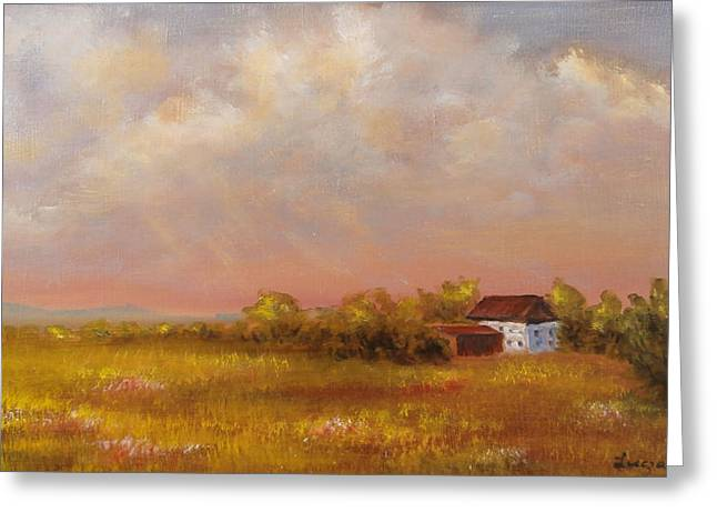 Greeting Card featuring the painting August Afternoon Pa by  Luczay