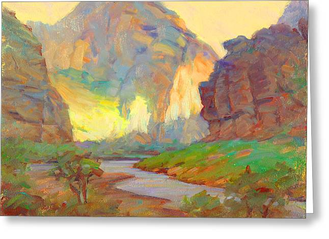 August On The Rogue River Zion Greeting Card by Ernest Principato