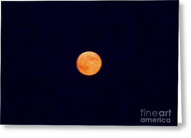 August Orange Moon Greeting Card by Melissa Baker