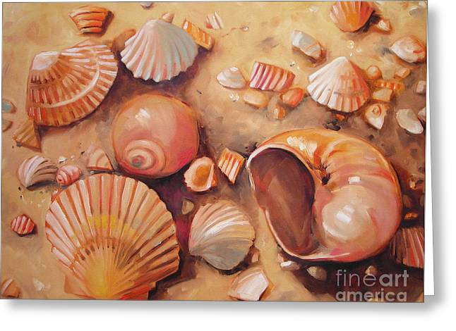 August Shells Greeting Card by Mary Hubley