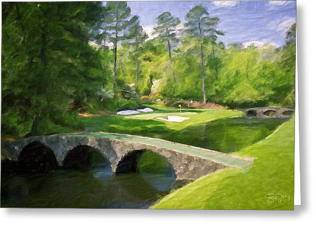 Augusta National Hole 12 - Golden Bell 2 Greeting Card by Scott Melby