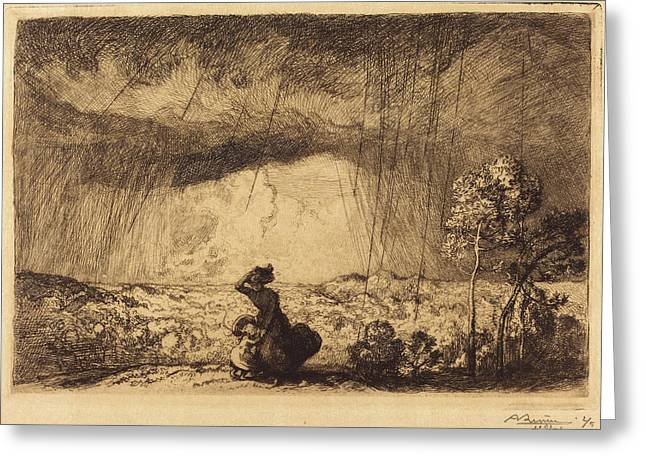 Auguste Lepère, Storm On The Dune, Vendee Lorage Sur La Greeting Card