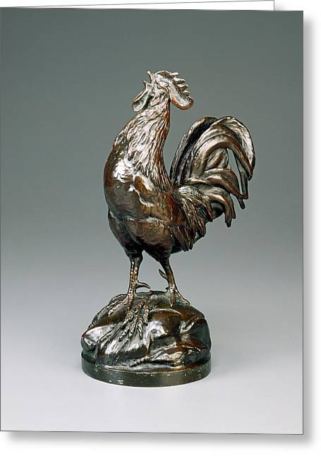 Auguste-nicolas Cain, French Cock Crowing Greeting Card