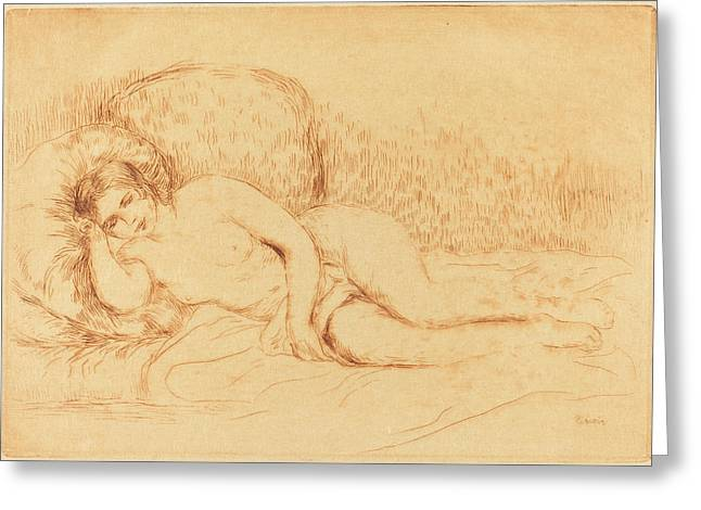 Auguste Renoir, Woman Reclining Femme Couchee Greeting Card by Quint Lox