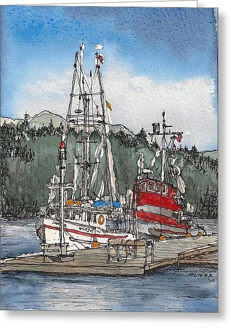 Greeting Card featuring the mixed media Auke Bay  by Tim Oliver