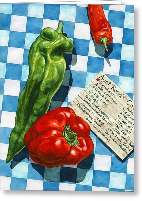 Aunt Rosa's Cornbread Greeting Card by Lynda Hoffman-Snodgrass