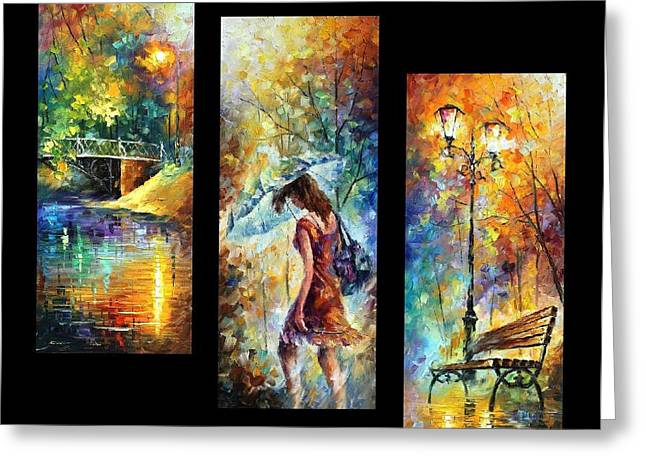 Aura Of Autumn Set Of 3 Paintings - Palette Knife Oil Painting On Canvas By Leonid Afremov Greeting Card by Leonid Afremov