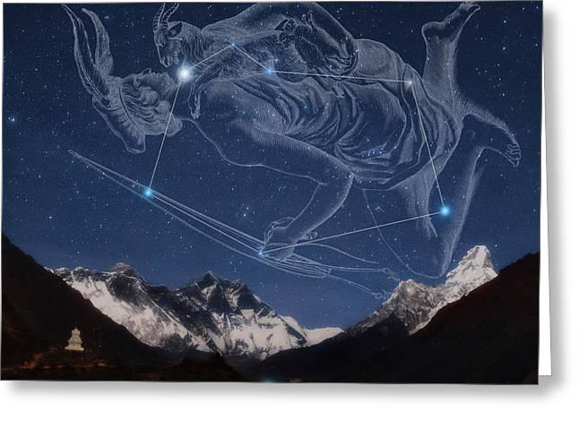 Auriga Over The Himalayas Greeting Card by Babak Tafreshi