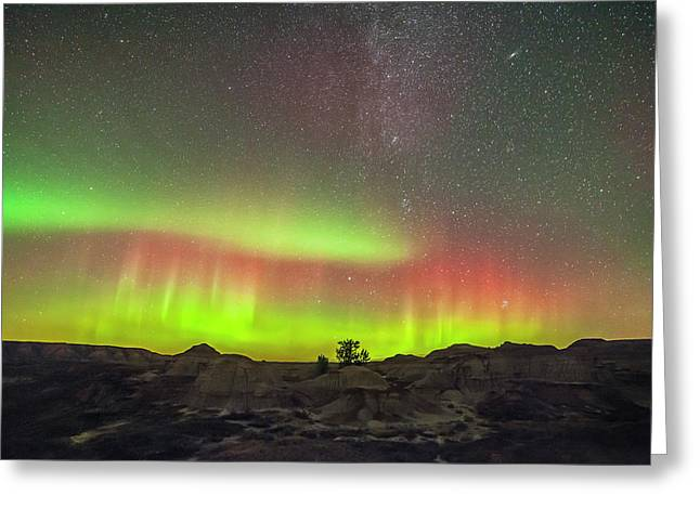 Aurora And Milky Way Over The Badlands Greeting Card