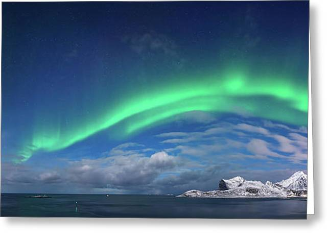 Aurora Borealis Above Flaget Bay Greeting Card by Panoramic Images