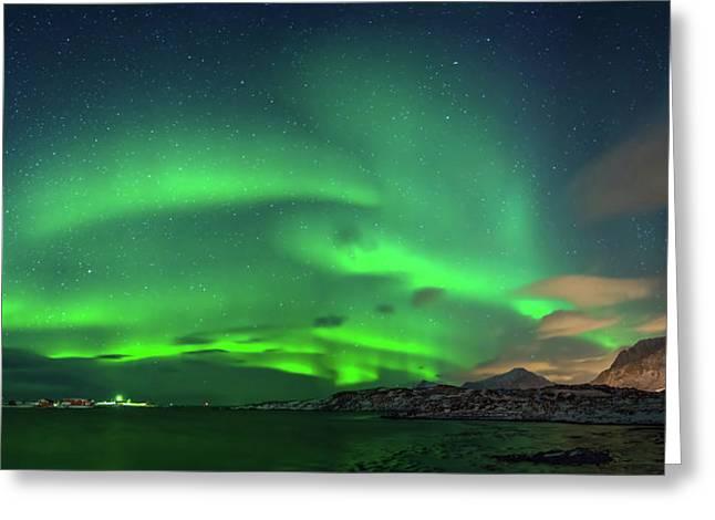 Aurora Borealis Above Ramberg, Lofoten Greeting Card by Panoramic Images