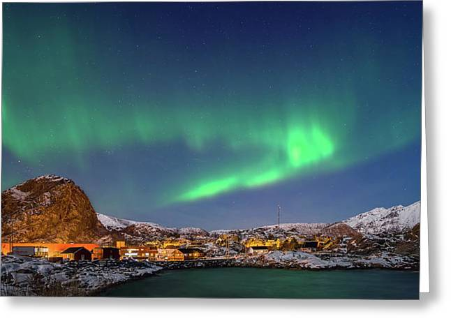Aurora Borealis Above Stamsund Greeting Card by Panoramic Images