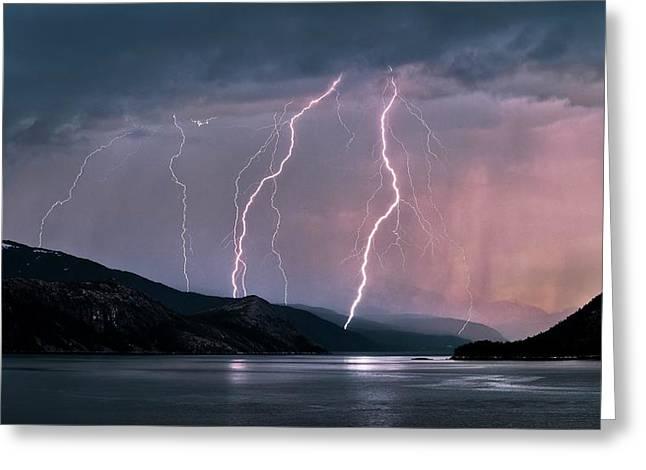 Aurora Borealis And Lightning Greeting Card