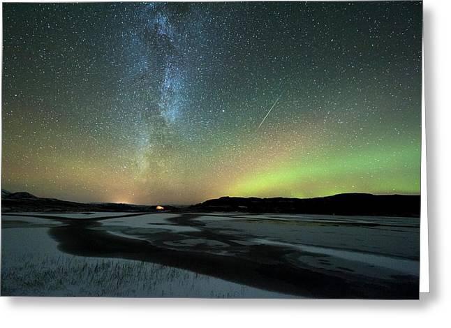 Aurora Borealis And Orionids Greeting Card