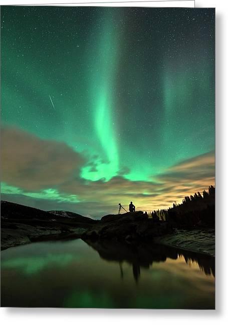 Aurora Borealis And Quadrantids Greeting Card