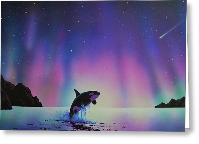 Aurora Borealis And Whale Greeting Card