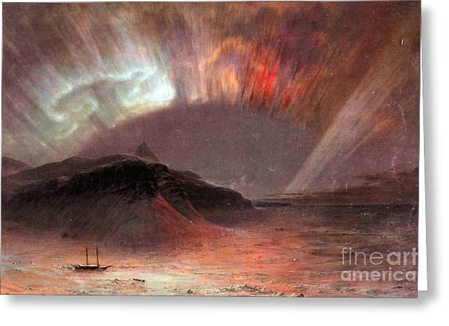 Aurora Borealis By Frederick Edwin Church Greeting Card