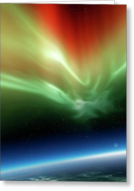 Aurora Borealis From Space Greeting Card