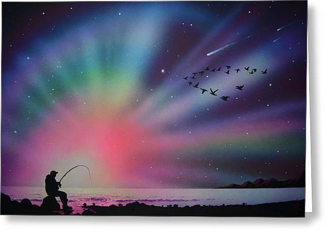 Aurora Borealis Gone Fishing Greeting Card