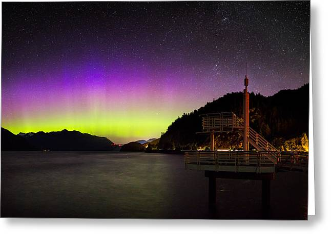 Aurora Borealis Near Vancouver Greeting Card by Alexis Birkill