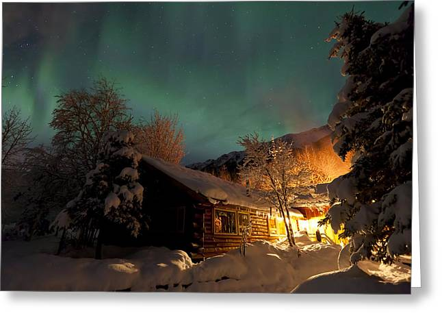 Aurora Borealis Northern Lights Over Greeting Card