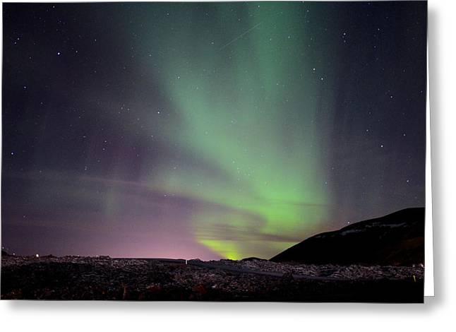 Aurora Borealis Over Iceland Greeting Card