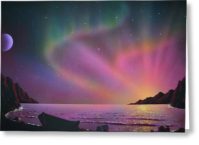 Aurora Borealis With Lobster Cage Greeting Card