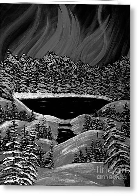 Aurora In Black And White Greeting Card by Barbara Griffin