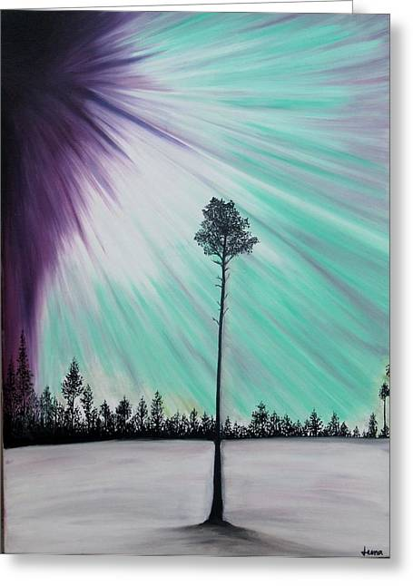 Aurora-oil Painting Greeting Card by Rejeena Niaz