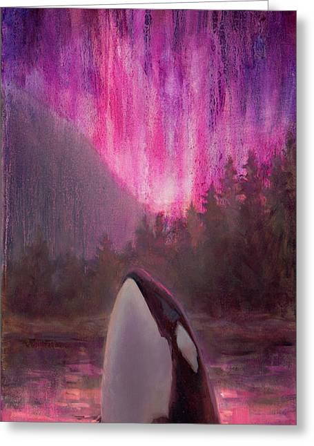 Orca Whale And Aurora Borealis - Killer Whale - Northern Lights - Seascape - Coastal Art Greeting Card