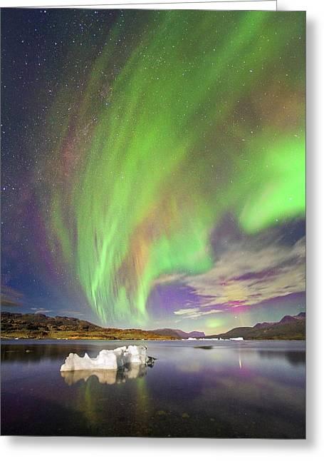 Aurora Over Iceberg Greenland Greeting Card