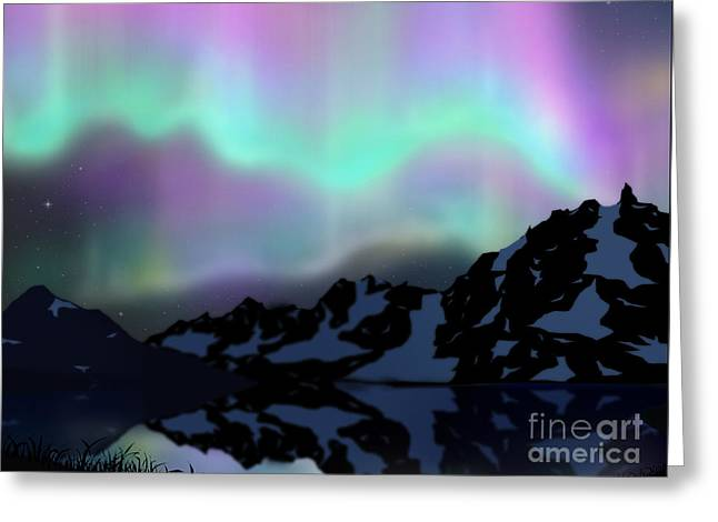 Aurora Over Lake Greeting Card by Atiketta Sangasaeng