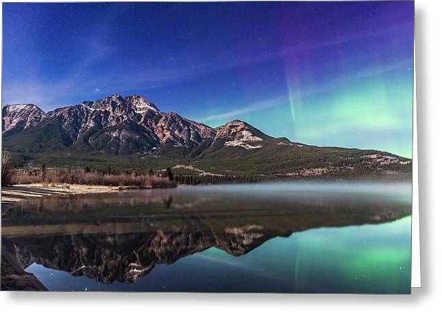 Aurora Over Pyramid Mountain Greeting Card by Alan Dyer