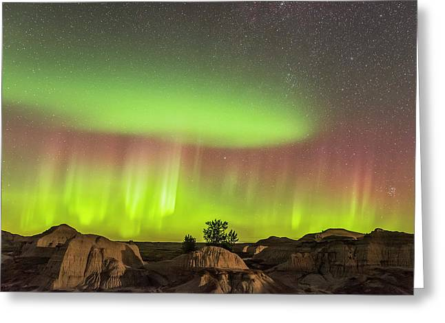 Aurora Over The Badlands Greeting Card