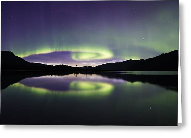 Aurora Spiral Panorama Greeting Card by Lisa Hufnagel