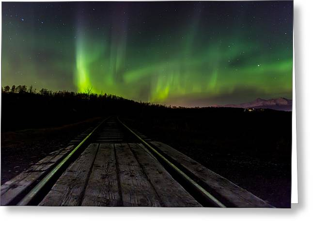 Aurora Railroad Tracks Greeting Card by Sam Amato