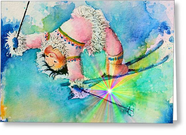 Aurora Skier Greeting Card by Hanne Lore Koehler