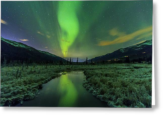 Aurora Valley Greeting Card by Kyle Lavey