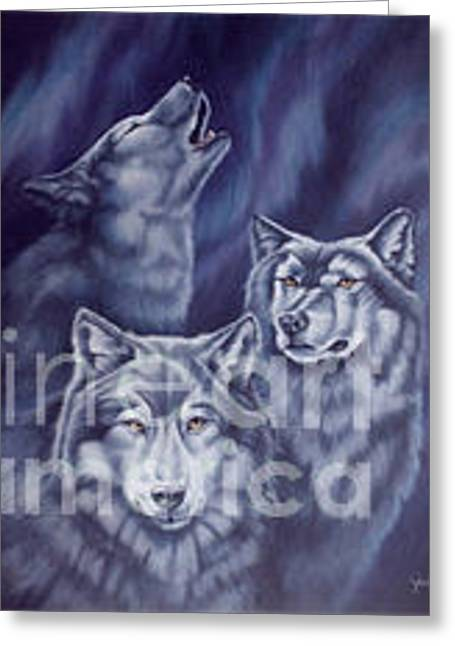 Aurora Wolves Greeting Card by Wendy Froshay