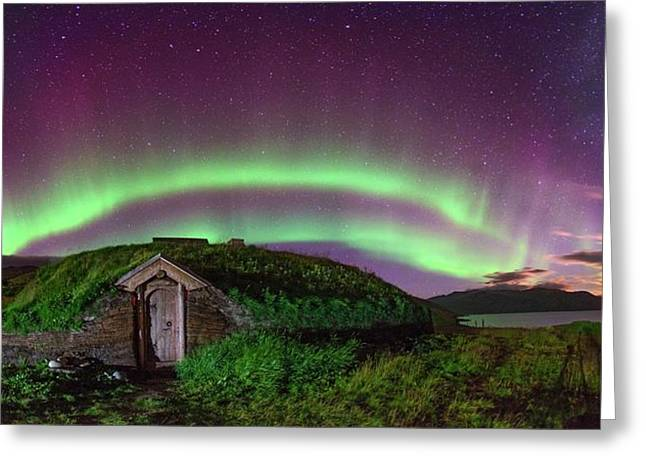 Auroral Over Viking House Greeting Card