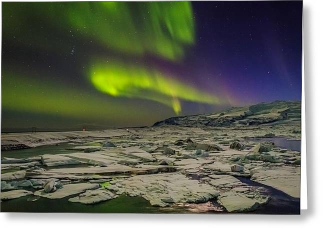 Auroras And Icebergs At The Glacial Greeting Card by Panoramic Images